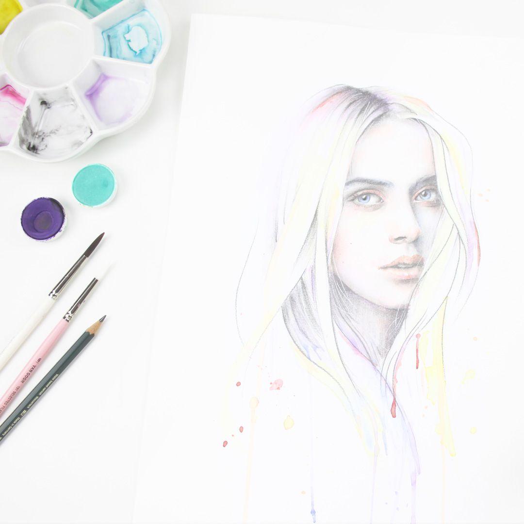 almu ruiz ilustración acuarela magia bordado lápiz