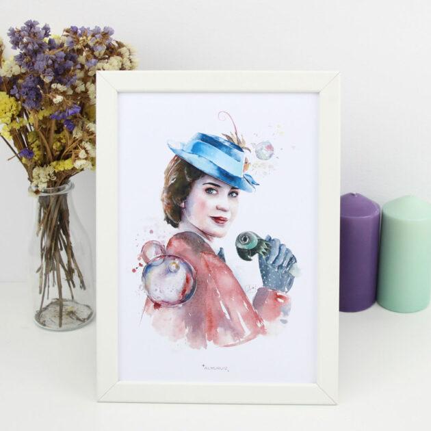 Lámina Mary Poppins acuarela